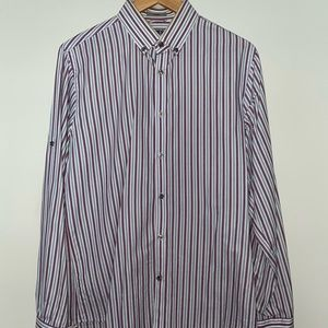 Green and Purple Striped Fitted Dress Shirt